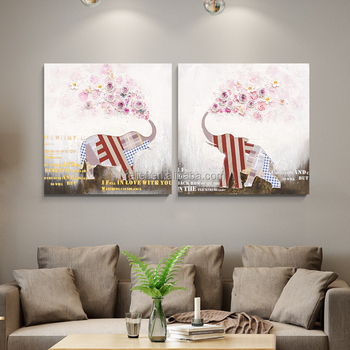 100% handmade 3D art cute elephant oil painting new design wall deco oil painting home decorarion modern