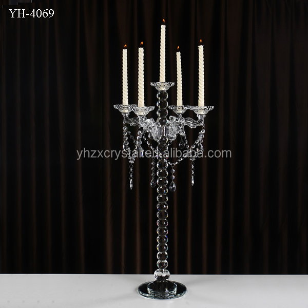 bead ball crystal pillar with 5 arm crystal candelabra for wedding