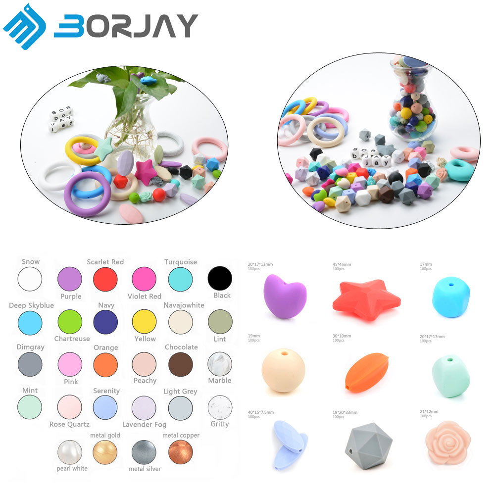No MOQ Food Grade Silicone Teething Beads Loose For Jewelry