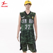 Healong Anti-Bacterial Breathable Camo Sublimation Basketball Uniform Basketball Jersey Pictures