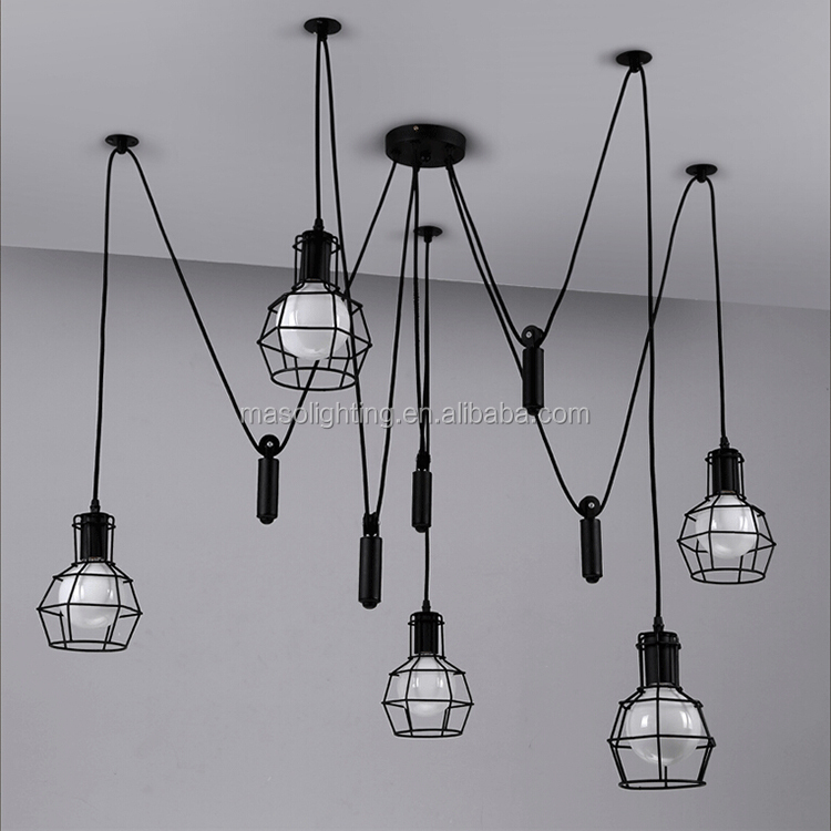 Top quality antique iron metal ceiling lamps for clothing store fixture lamparas de mesa