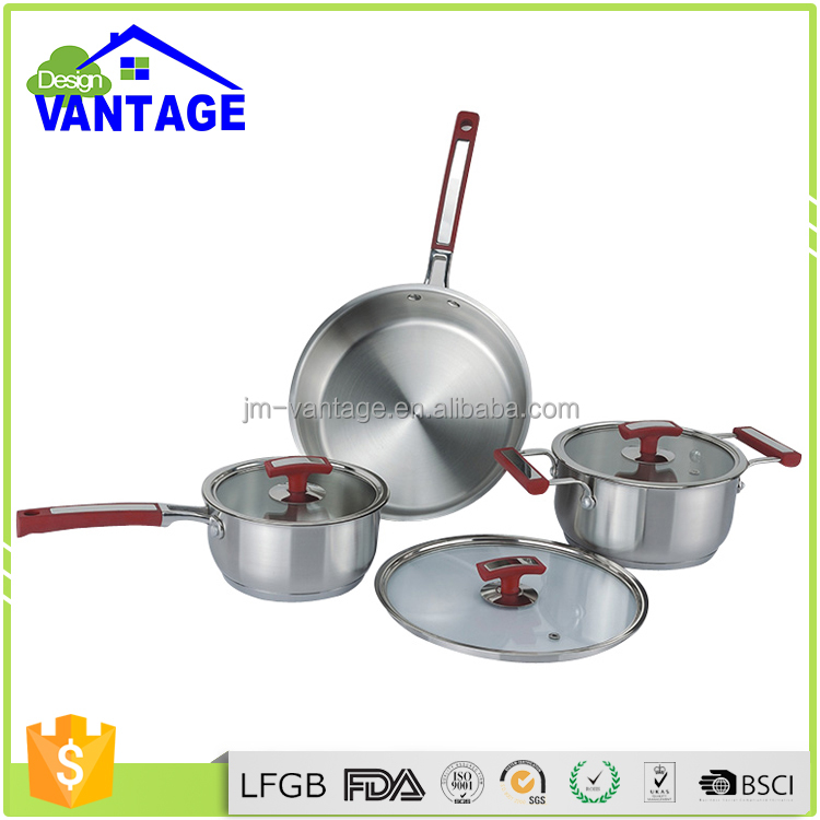 High quality 6pcs cookware set stainless steel pot with saucepan and casserole