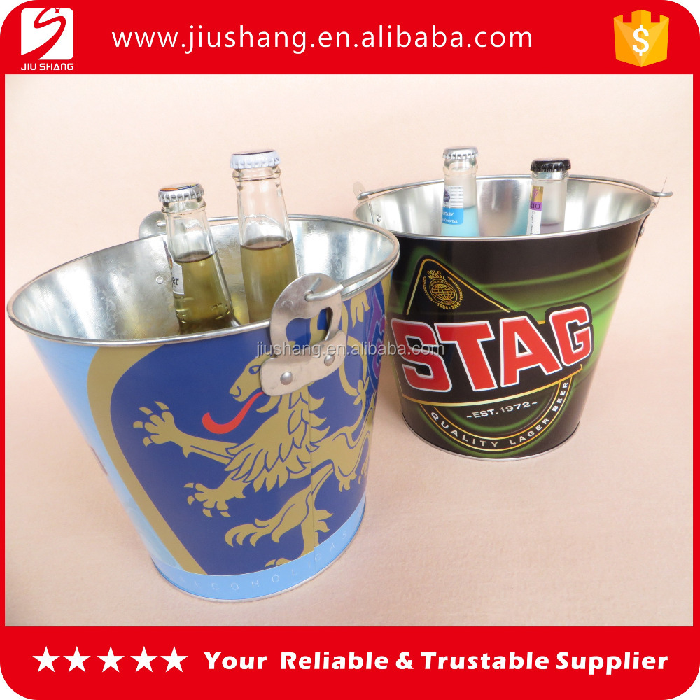 Personality mini tin beer ice bucket with bottle opener for bar using