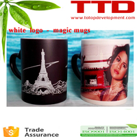 11oz Sublimation Blue Color Change Mug/ white Magic Cup , with outside white logo