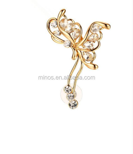 18k Gold Cz Stone Butterfly Clip Earrings For Women