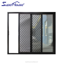 American NFRC Standard Water proof Aluminium Tinted glass sliding door safety grille Design