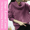Custom Sweaters & Cardigans 2016 Oversize Purple Cowl Neck Cable Knit Sweater