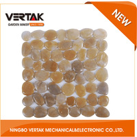 Front rank of garden tools supplier popular polished pebble floor tile,Massage pebble mat,pebble tile