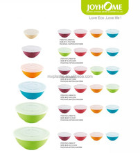 Eco-friendly colored plastic soup and salad bowl with cover