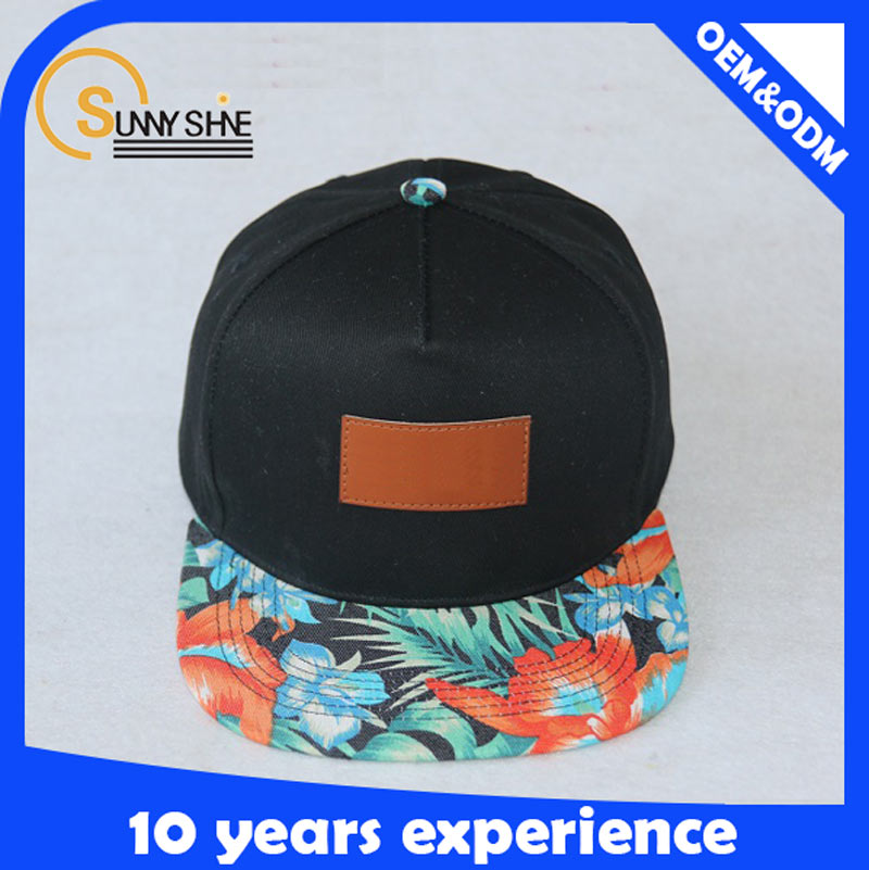 Custom Floral 5 Panel Snapback Caps leather patch logo snapback hats wholesale
