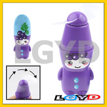 Cartoon Doll Style Mini Handheld Electric Fan, Length:10cm (Eggplant color)