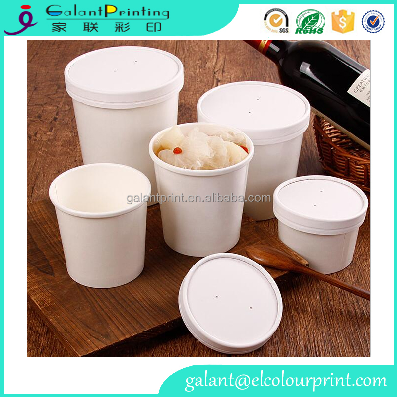 Wholesale custom paper disposable soup cup food use kraft white soup container with paper lids