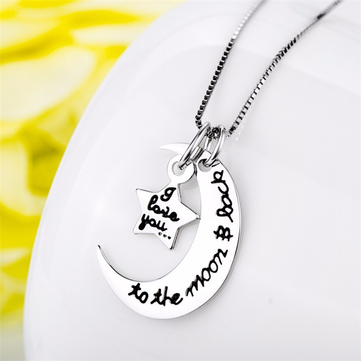 925 Sterling Silver I Love You To The Moon And Back Saying Pendant Necklace
