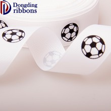 Custom printed 100% polyester grosgrain ribbon,2.0cm white soccer gymnastic ribbon