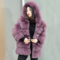 CX-G-A-78 Women Coats Genuine Fox Fur Coat With Hood