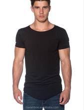 Black Scoop Neck Pocket Tee for Men Plain 96% Cotton 4% Elastane Gym Fitted Longline Curved Bottom T Shirt