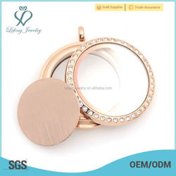 2015 popular & low price rose gold blank plates for photos glass twist lockets pendant