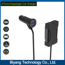 36W 4 USB Rapid Charging Station for Front and Backseat At 2.4A Per Port Powerful Output Suitable for All Digital Device
