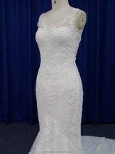 High quality china factory fishtail spanish lace wedding dress in guangzhou