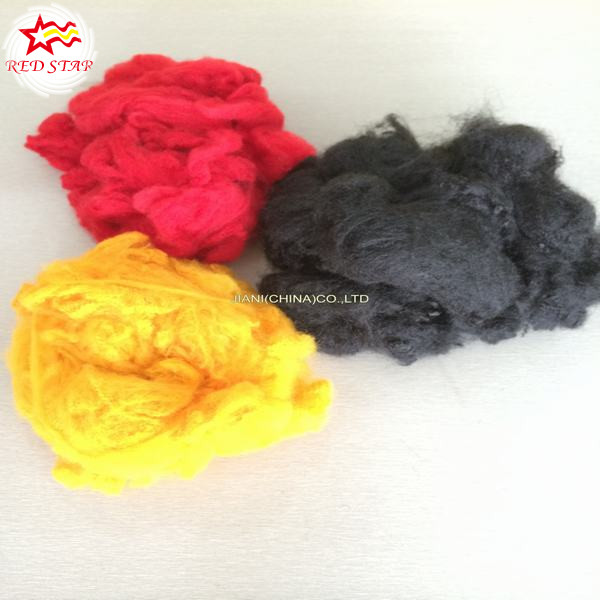 100% polyester material black recycled polyester fiber price