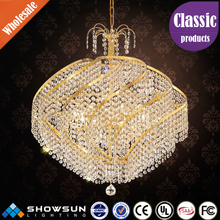 Wholesale metal lace decorative golden round crystal chandelier