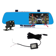 WIFI wire free 5 inch IPS high definition rear view mirror car dvr night vision front and back car camera