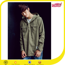 Fashion Korean style men military green winter jacket with hoodie mens hoodie&jacket design