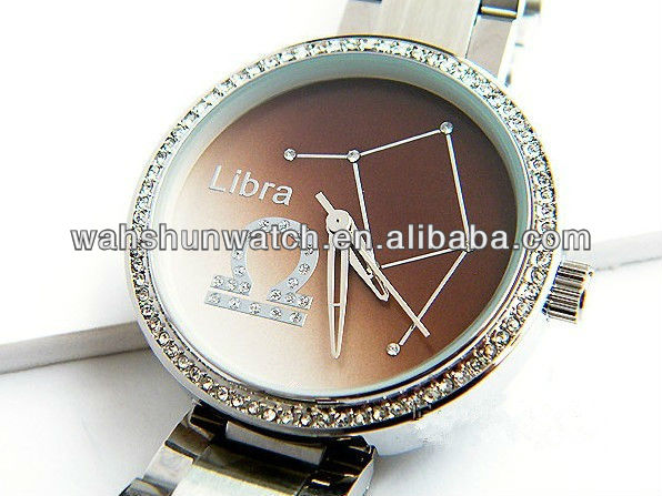 ladies diamond fashion wrist constellation watches with steel band