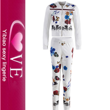 2PCS Tracksuit Set Womens Floral Print <strong>Sports</strong> Sweatshirt And Pants
