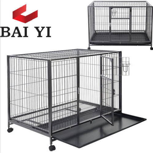 Folding metal mesh dog crates with wheels