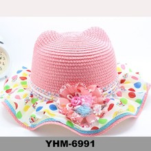 2015 summer fancy multicolour children beach straw hat with curled brim and flower for sunproof in stock wholesale