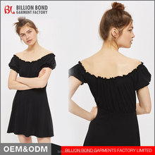 2017 New Design Off-shoulder Petite Bardot Skater girls' Dress Sexy Cotton Bubble Sleeve Casual Dress