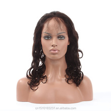 Virgin brazilian human hair wig low density loose wave natural lace front wigs