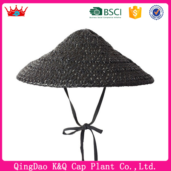 Black Coolie Sun Visor Hat with Chin Strap for outdoor Work