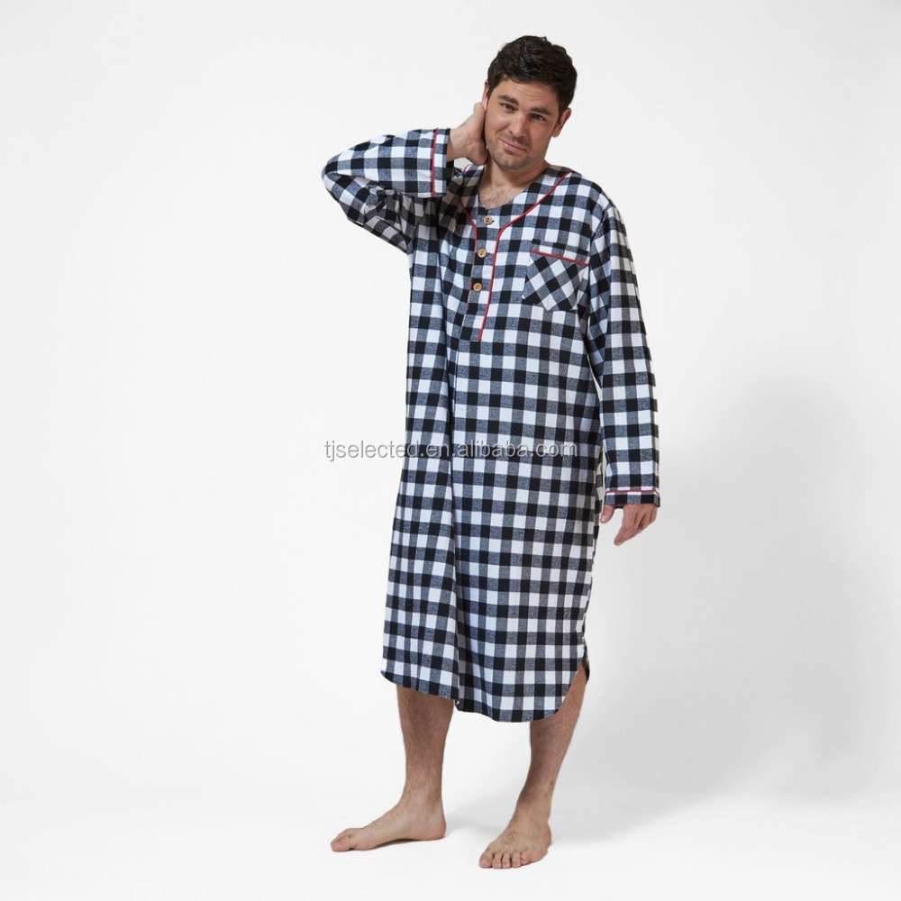 OEM service for Mens Sleepwear cotton flannel mens pajamas nightgowns