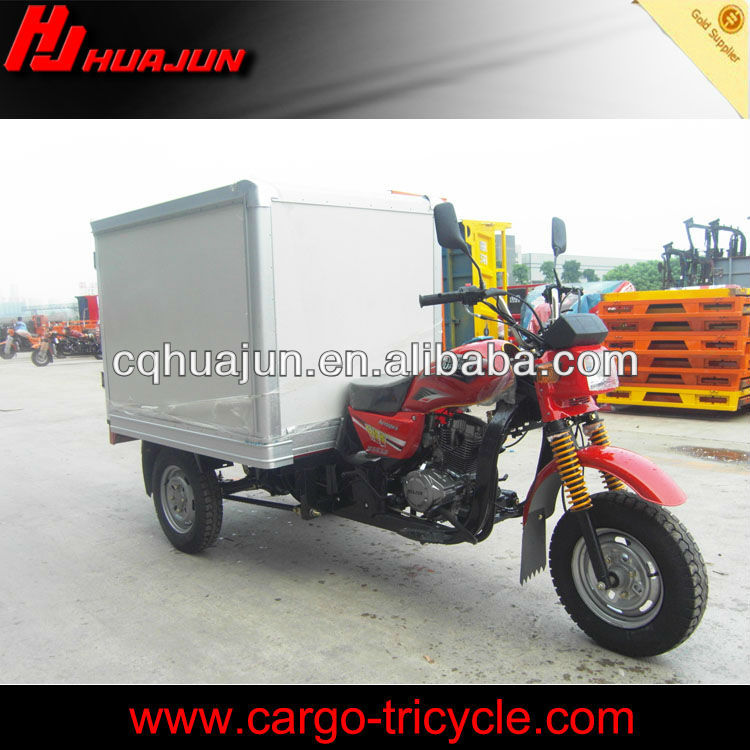China 150cc 300cc cargo tricycle with driver cabin and closed box