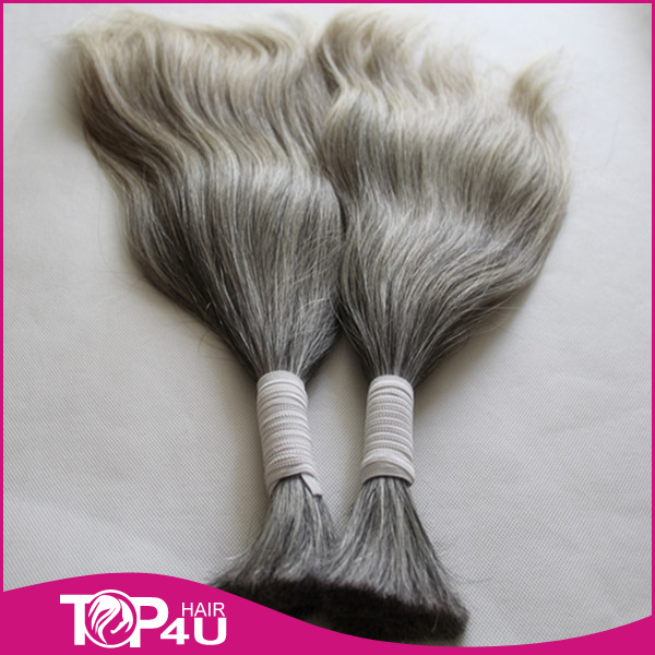 Wholesale brazilian human hair virgin silver grey bulk remy hair