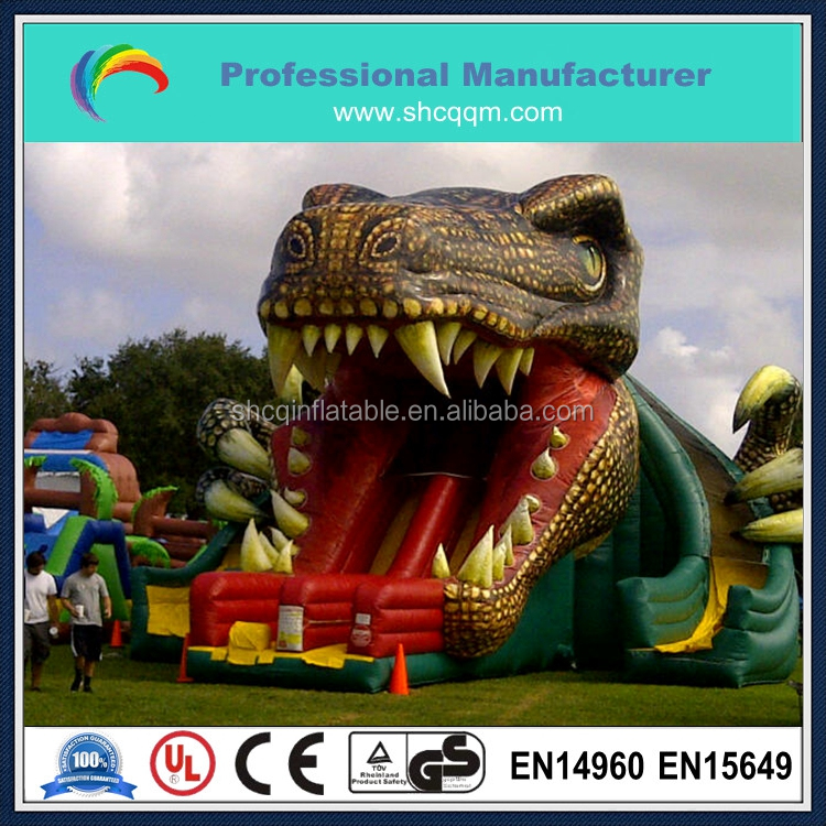 2015 commercial inflatable dragon monster slide for kids and adults