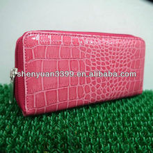 faux leather classy slim ladies zip around long wallet purse with crocodile pink skin
