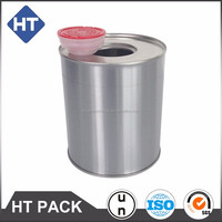 metal tin can with plastic cap for oil , chemical gule , paint