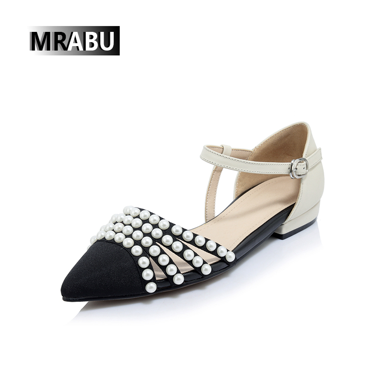 pearls beading 1.5cm genuine leather shoes women sandals size 42 fancy ladies chappal picture
