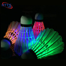 Fancy goose feather badminton flashing lighted led badminton shuttlecock