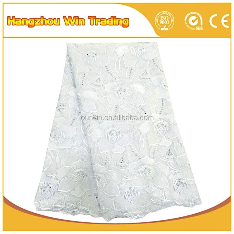 2016 White nigerian 100% voile lace fabrics / African swiss voile lace high quality for girls frocks