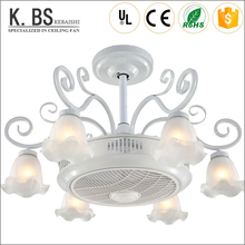 new coming 55inch white modern fan lamps flower glass lampshade decorative ceiling light