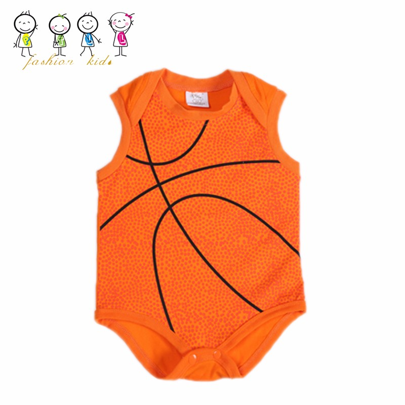 In Stock Item Wholesale Cotton Sleeveless Basketball Jersey Snap Crotch Bodysuit Onesie For Baby Boys