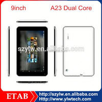 A23 Dual core 800*480 screen,0.3+2.0 camera square tablet pc