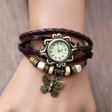 2014 Original High Quality Women Genuine Leather Vintage Watches,Bracelet Wristwatches butterfly/Eiffel Tower Pendant