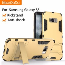 Flexible Price Anti shock kickstand TPU PC customized logo for samsung s8 case