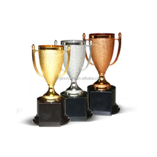 Cheap hot selling small plastic trophy cup in gold silver bronze color