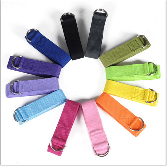 Eight Colors Double D-ring Stretch Out Straps Polyester Yoga Strap Use For Fitness Yoga Strap